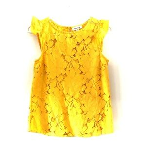 Monteau Goldenrod Yellow Capsleeve Lace Blouse S